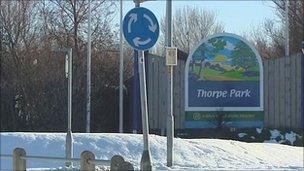 Thorpe Park caravan site entrance