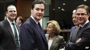 From left, Swedish Finance Minister Anders Borg, British Chancellor of the Exchequer George Osborne, Spanish Finance Minister Elena Salgado, Belgian Finance Minister Didier Reynders and Finnish Finance Minister Jyrki Tapani Katainen
