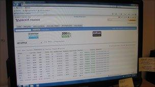 Computer showing financial information