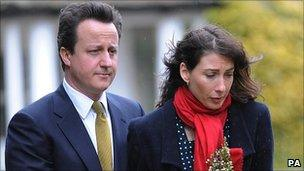 The Camerons at son Ivan's funeral