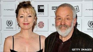 Lesley Manville and Mike Leigh attend the Moet British Independent Film Awards at Old Billingsgate Market on 5 December