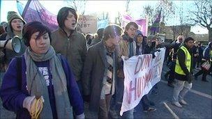 Demonstration in Leeds on Wednesday