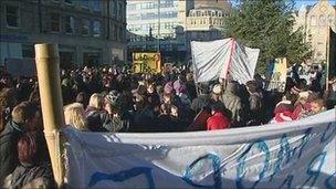 Student demonstration in Sheffield