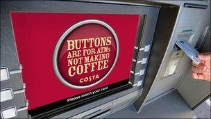 Coffee advert on ATM