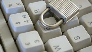 Padlock on a computer keyboard