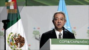 Japan's Environment Minister Ryu Matsumoto gives a speech during a plenary session at the Moon Palace, where climate talks are taking place, in Cancun December 9, 2010.