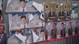 Campaign posters - Albanian and Serb