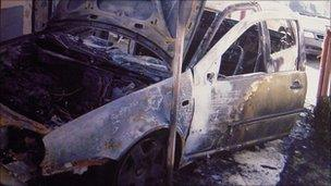 Photo of the destroyed car of Dragan Stojkovic