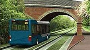 An artist's impression of the Cambridgeshire guided busway