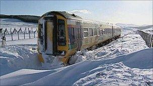 Snowed-in train