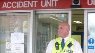 Security officer at hospital accident unit