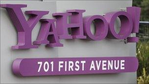 Yahoo sign at the firm's headquarters