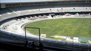 The Maracana Stadium in Rio de Janeiro undergoing refurbishment for the 2014 World Cup Finals