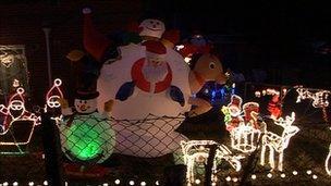 Christmas lights display at Mr Scarrott's house
