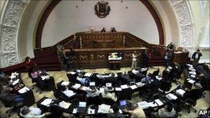 Lawmakers debating the enabling law in the Venezuelan congress