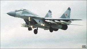 Russia Mig 29 fighter, during Airshow in Britain. PA News,