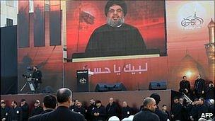 Hassan Nasrallah on a big screen in recent Ashura celebrations
