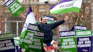 Council and public sector workers (members of Unison trade union) on strike in Victoria Square, Birmingham, Tuesday March 28, 2006.