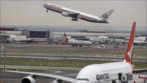 Planes taking off from Heathrow Airport