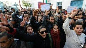 People shout slogans to show their solidarity with the residents of Sidi Bouzid during a demonstration on December 27, 2010 in Tunis.