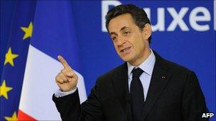 French President Nicolas Sarkozy speaking at the end of the EU summit, Brussels, 17 December 2010