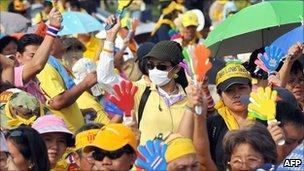 File image of yellow shirt protesters in Bangkok in November 2008