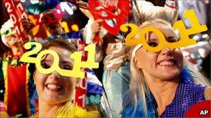"""Revellers during the New Year""""s Eve celebrations in Hong Kong""""s Times Square Saturday, Jan. 1, 2011"""