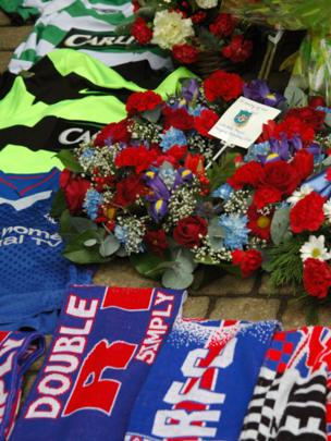 floral tributes to Ibrox disaster