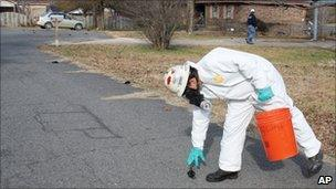 A worker with US Environmental Services, a private contractor, picks up a dead bird in Beebe, Ark. on 1 Jan 2011 as more can be seen on the street behind him.