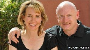 Gabrielle Giffords and her husband Mark Kelly, courtesy of HO/AFP/Getty Images