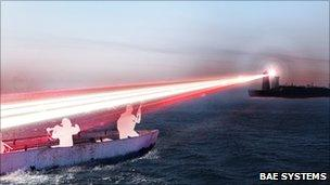 Artist's impression of BAE's laser distraction system