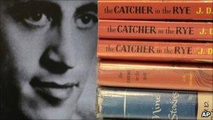 A 1951 photo of JD Salinger with copies of The Catcher in the Rye