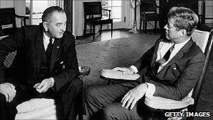 Lyndon Johnson and John F Kennedy