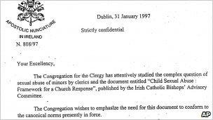 Letter, dated 31 January 1997, from Archbishop Luciano Storero to Irish bishops (18 January 2011)