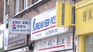 Korean shop signs on New Malden High Street
