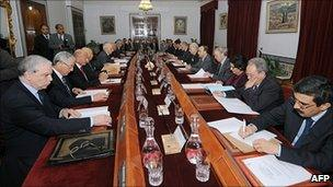Interim cabinet meets at the government palace in Tunis