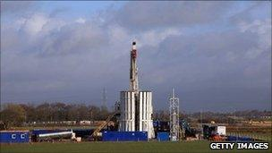 The drilling rig of Cuadrilla Resources explores the Bowland shale for gas, four miles from Blackpool on January 17, 2011 in Blackpool, England.