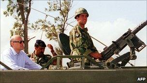 Najib Mikati in a Lebanese army vehicle near the southern Lebanese city of Sidon (1999)