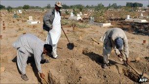 Grave diggers in Karachi