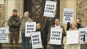Protesters outside Cambridgeshire County Council's headquarters