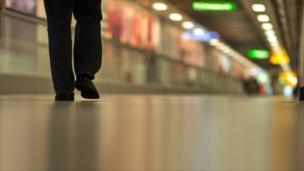 An airport corridor