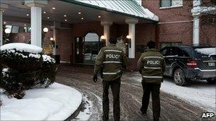 Police at the Chateau Vaudreuil Suites Hotel where it is believed the Trabelsis were staying, just outside Montreal city in Vaudreuil-Dorion, Quebec, Canada, 27 January 2011
