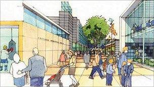 Artist's impression of Redcar's Town Hall Square
