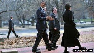 President Barack Obama walking outside the US Chamber of Commerce