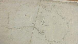 First Map Of Australia.Historic Australia Map Should Stay In England Bbc News