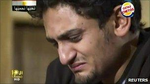 Wael Ghonim weeps during his Dream TV interview, 7 February