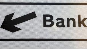 Sign pointing to Bank district