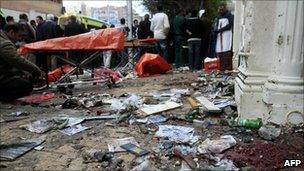 Aftermath of car bomb attack on church in Alexandria - 1 January 2011