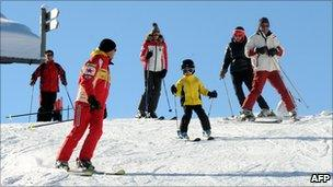 Skiers in Megeve, France - 4 Dec 10