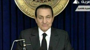 President Hosni Mubarak on state TV - 10 February 2011